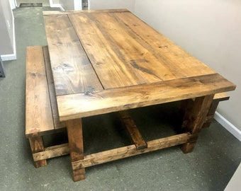 Rustic 7ft Farmhouse Table With Breadboard Ends And Bench, Provincial Brown  Stained Dining Set,
