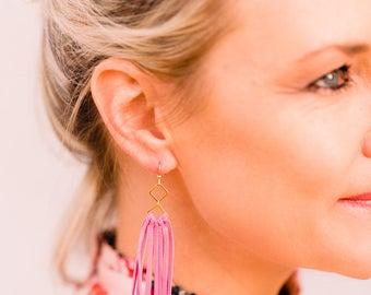 Pink leather fringe earrings leather tassel earrings leather jewelry leather fringe earrings lightweight leather earrings