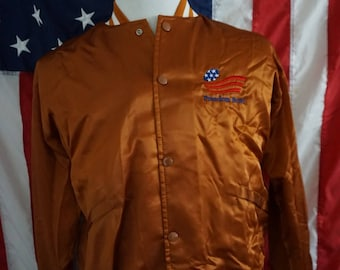 Vintage Texas Longhorns Burnt Orange Satin Bomber Jacket 1984 Freedom Bowl Mens size Medium starter chalkline style Embroiderred NCAA