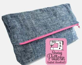 Fold-Over Clutch PDF Sewing Pattern | Sew a fold over large zipper pouch with two pockets. Use as a clutch, lingerie bag or cosmetics bag.