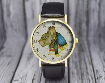Vintage Egyptian God Bastet Watch | Cat Watch | Leather Watch | Ladies Watch | Men's Watch | Wedding | Birthday | Gift Ideas | Accessories