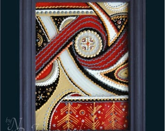 Ukrainian Folk, traditional Painting on glass Hand made Framed, Painted glass, Wall decor Trypilian style 11x14 cm