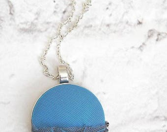 Blue embroidered necklace,floral necklace for women, pendant measures 1 7/8 inches