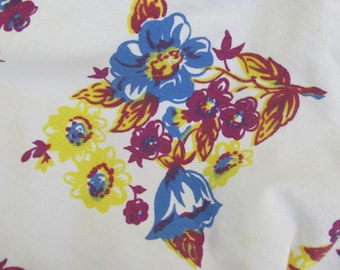 Blue and Cranberry Vintage  CottonTable Cloth