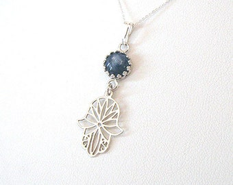 Blue Kyanite Gemstone Sterling Silver Hamsa Hand Pendant Necklace, Blue Stone Healing Hand, Protection, Yoga Jewelry