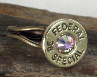 Bullet Ring - Federal 38 SPL -  AB Crystal