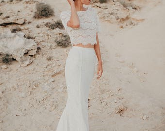 Boho wedding dress, wedding dress, Bridal Separates, Wedding Separates, Two Piece Wedding Dress, Bridal Gown Separates, bohemian wedding.