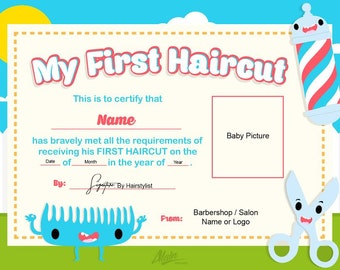 First Haircut Certificate / Baby Haircut CERTIFICATE  8x10/ Photo Certificate / Printable FILE only 5.59dollars