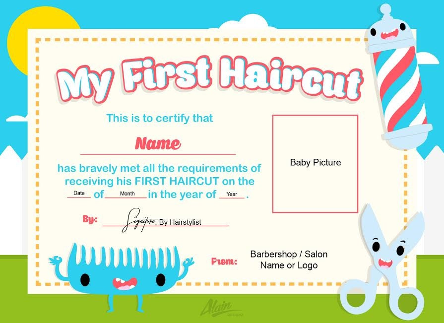 First Haircut Certificate / Baby Haircut CERTIFICATE 8x10/