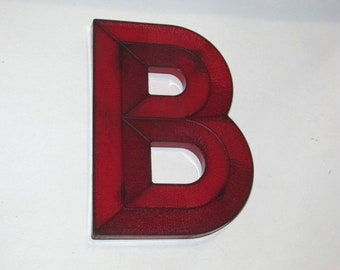 Vintage 1950s Letter B, Movie Theater Marquee Letter, Mid Century Sign, Red Lucite Letter, Urban Industrial Initial, Art Deco Wall Hanging