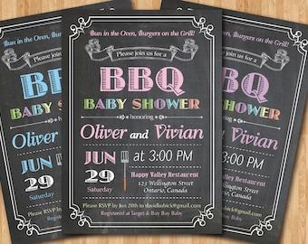 Baby Q Shower Invitation. Chalkboard Co Ed Baby Shower Invite. Babyque Bbq  Boy Or Gril. Printable Digital DIY.
