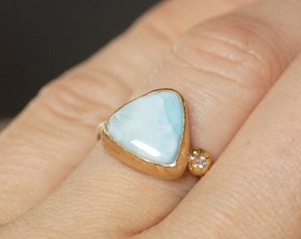 Larimar Diamond Cocktail Ring - Size 6.25 - Sterling Silver and 18k Gold Ring