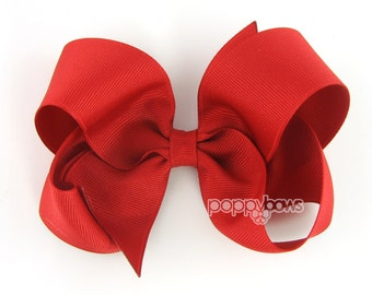 Red hair bow - Girls Hair Bow - large hair bows - girls big bows - hair bows for toddlers - big hair bows - 4 inch bows - girl hair bows 4""