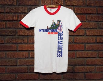 Vintage 80s International Nijmegen Netherlands 4 Days Marches Ringer / T-Shirt Women's XS / S