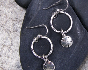 Dangle Circle Sand Dollar Earrings Sterling Silver