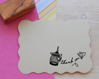 Large Set Free - Little Bird Thank You Olive Wood Stamp