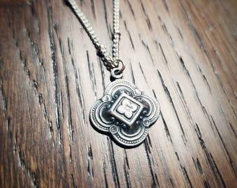 Rosette flower quatrafoil antique replica necklace on sterling silver satellite chain