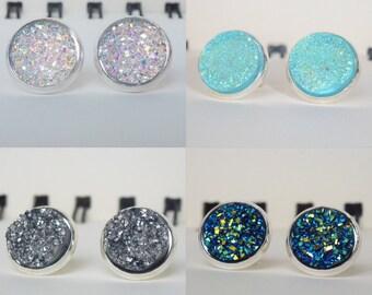 4 Styles of Druzy Stud Earrings (Set 1 of 2)