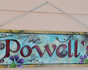 Custom Personalized Wood Burned Hand Painted Hanging Sign for Indoor and Outdoor Last name or Address Sign