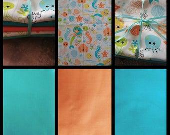 Aqua Mermaids Fabric Quarter Bundle 5 piece Cotton Fabric Pack
