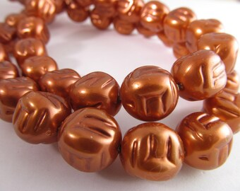 16 Vintage 16mm Faux Copper Baroque Pearl Beads Bd581