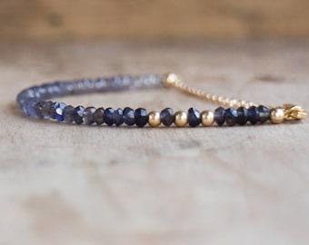 Water Sapphire Bracelet, Ombre Iolite Bracelet, Mom Gift for Her, Gift for Wife, Gemstone Bracelet, Stacking Bracelet, Iolite Jewelry