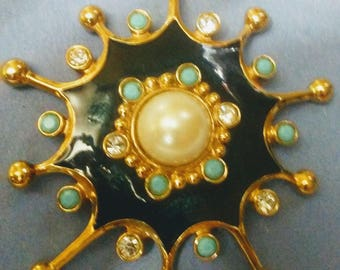 Jose Maria Barrera By Avon large Starburst Enamel Rhinestone Turquoise Brooch Pendant