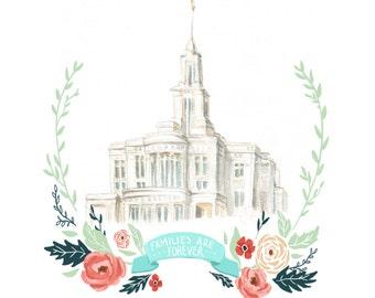 Families are Forever, LDS temple, flower wreath, Mormon art, Latter Day Saint, Payson, Utah, Anniversary gift idea, Wedding gift idea