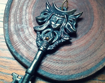 Key of Hecate -- Handmade Pendant in Bronze or Silver
