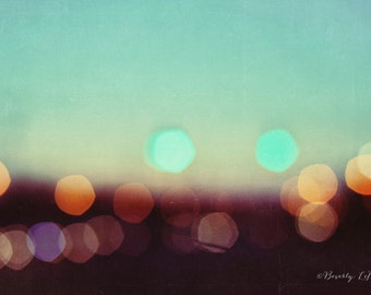 lights, teal, bokeh, blur, dreamy, fine art photography