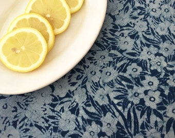 Hand Block Printed Cotton Fabric from India - Bohemian Fabric By the Yard - Resist Dyed Indigo Print - Natural Vegetable Dye