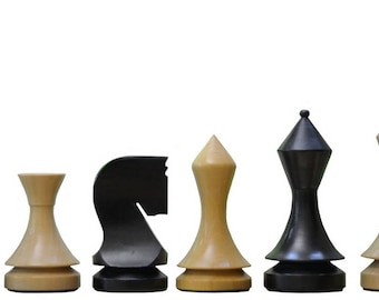 "19th Century Classic Series Chess Set in Stained Dyed & Box Wood - 4.0"" King. SKU: S1254"
