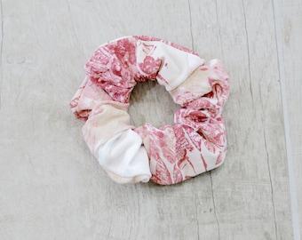 Floral Pink and Rose Scrunchie, ponytail holder, girls hair accessories, women hair accessories