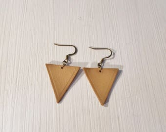 Tan Leather Triangle Earrings Geometric Jewelry