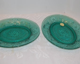 Vintage Sandwich Oval Trays (2), Spruce Green Sandwich Tray, Small Serving Tray, Tiara Glass, Indiana Glass, Pressed Glass