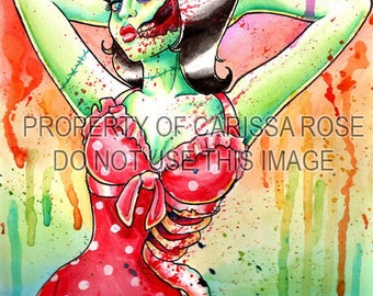 Zombie Doll 3 Art Print by Carissa Rose 5x7, 8x10, or 11x14 - Rockabilly Psychobilly Punk Rock Tattoo Undead Pin Up Girl Woman Rainbow