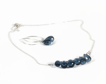 blue quartz jewelry set, blue jewelry set, quartz jewelry set, blue quartz, silver iolite, necklace earrings, gemstone jewelry, light weight