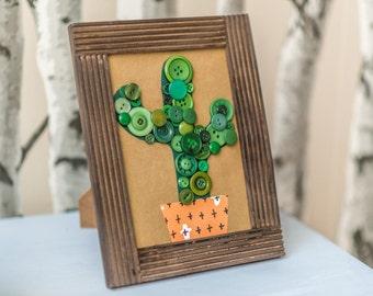 Button Cactus, Succulent Art, Cacti Wall Decor, Unique Housewarming Gift