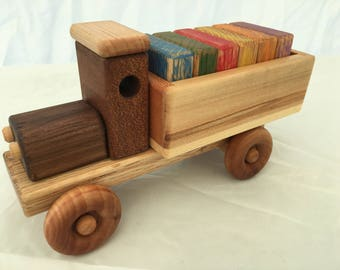 Wooden Toy Truck w/Colored Blocks