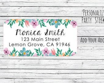 Return Address Labels Stickers Floral Return Address Labels, Cute Address Labels, Flowers Return Address Labels, Floral Address Labels