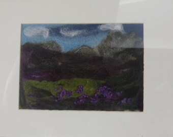 Scottish highlands needle felted wool picture