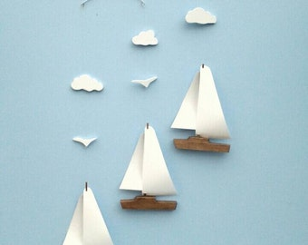 Sailboat Mobile-Y10*,Wood Hull,Vinyl Sail,W,Seagulls,Clouds,Baby Mobile,Sailboat,Mobile,Nautical,Nursery Mobile,Ocean Art,Kinetic