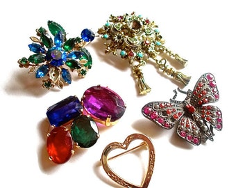 Destash Brooches Lot Vintage for Repair or Upcycling Jewelry for Assemblage