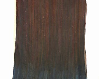Ombre Crinkle Silk Chiffon Scarf - Hand Painted - Deep Browns with Teal/Slate Blue Ends