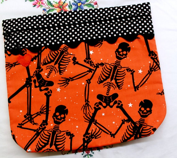 MORE2LUV Dancing Skelletons Cross Stitch Project Bag