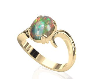 10x8mm Natur australischen Opal Ring in 14K oder 18K Gold SKU: R2266