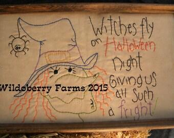 Witches Flight Halloween Stitchery
