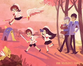 Sakura After School 12x18 in art print