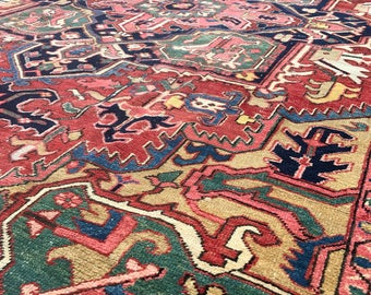 "ON HOLD 9'3""x13' Vintage Persian Heriz Rug"