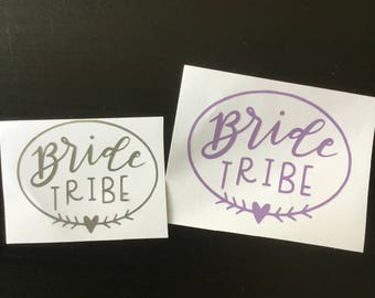 Bride tribe decal, wine glass sticker, bachelorette party, bridal vinyl sticker, custom vinyl decal